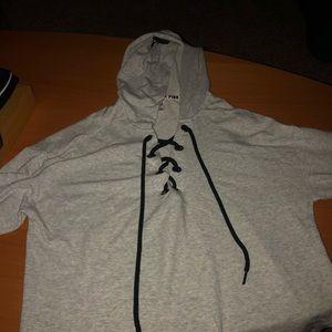 Long sleeve hoodie tee Victoria secret pink